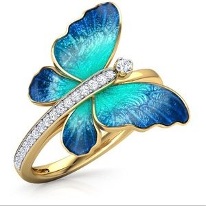 18kt Gold White Topaz & Enamel Butterfly Ring